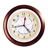 """DayClocks Time & Day of The Week Wall Clock – Analog Clock with Time & Days of The Week – Home or Office Wall Clock with Days of The Week – Great Retirement Clock - 13.5"""" Walnut Accent Frame"""