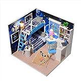 CONTINUELOVE Kit de casa de muñecas de Madera en Miniatura DIY - Modelo de casa de muñecas con Muebles, Luces LED y Cubierta Antipolvo -...