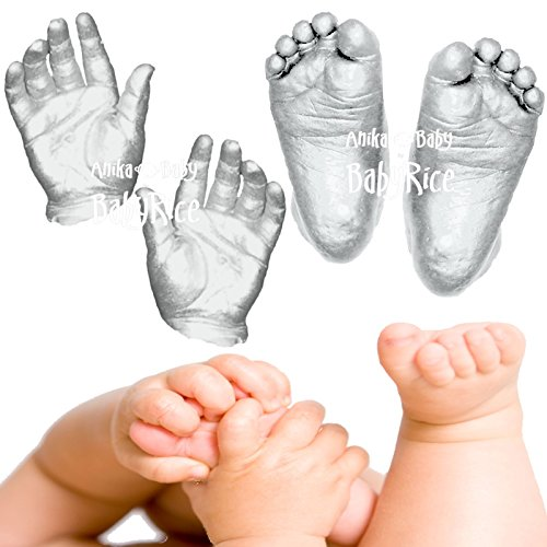 Large 3D Baby Casting Kit (up to 12 Casts of a Newborn) with Metallic Silver Paint by BabyRice