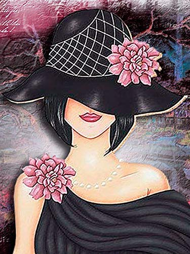 5D diamante pintura mujer Corss Stitch Kits taladro completo redondo bordado mosaico arte imagen de diamantes de imitación decoración regalo A7 40x50cm