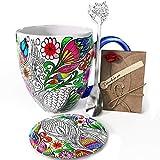 YC YANG CHAI YC Nature Cup - Set de regalo para los amantes del café (4 piezas, taza de café de porcelana XXL, platillo y cuchara extra larga)