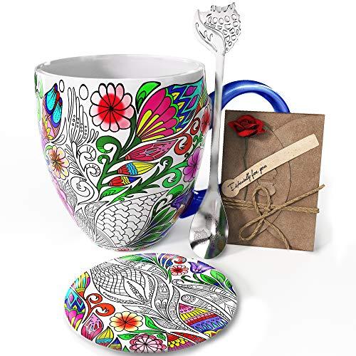 YC YANG CHAI Jumbotasse XXL 900ml 4-Teiliges Geschenkset Porzellan - Kaffeebecher Teetasse Untersetzer Extra-Langer Löffel lang - YC Nature Cup