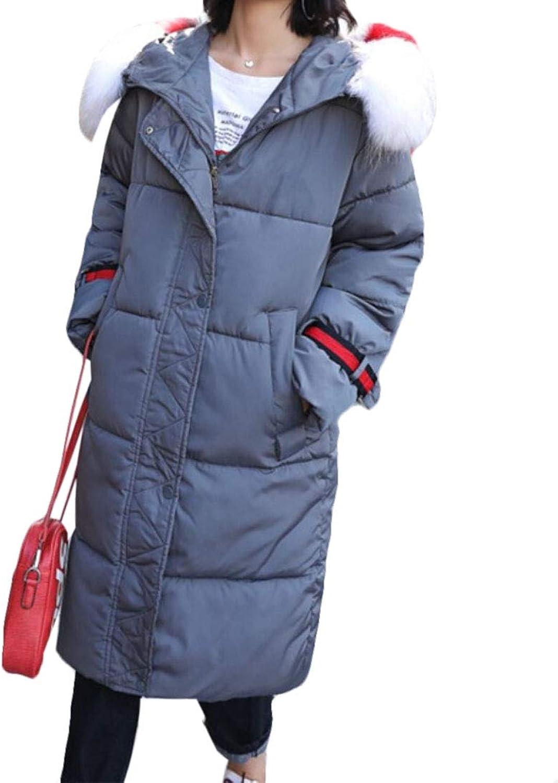 Keaac Womens Outerwear Long Down Jackets Puffer Multi Pocket Faux Fur Hood Coat