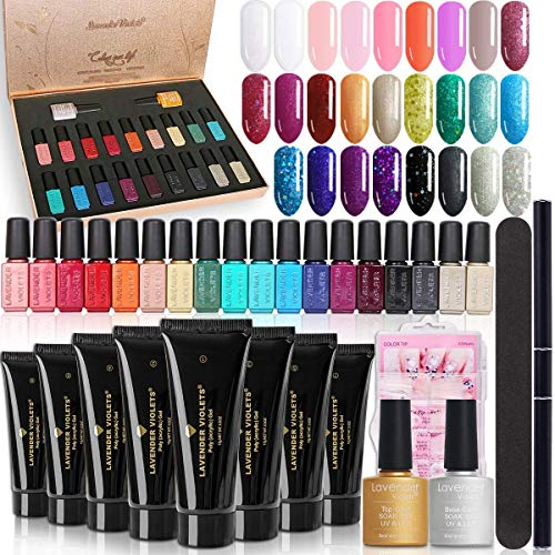 Lavender Violets Gel Nail Manicure Bundle Set of 20PCS Gel Polish Collection and 8 Colors All-in-One Poly Nail Gel Kit with Base n Top Coat