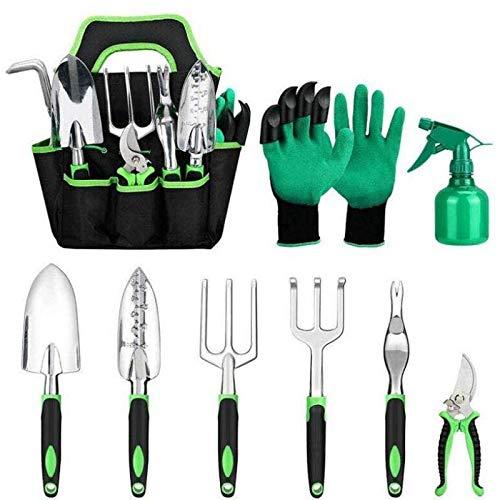 RUOXI Kit de herramientas de jardín, 9 piezas de aleación de aluminio, pala, rastrillo, boquilla de silicona, dos colores, mango antideslizante, jardinería, césped, cultivo, trasplante, bonsái.