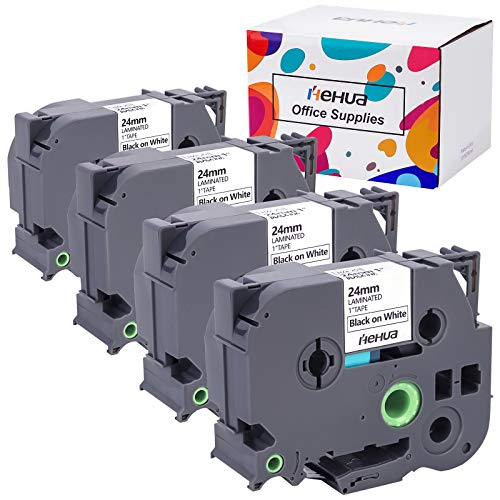Hehua Compatible Label Tape Replacement for Brother Label Maker Tape 24mm 0.94 TZe-251 TZe251 TZ-251 for Ptouch PT-D600 PT-P700 PT-2430PC PT-D600VP Label Maker ( Black on White, 4-Pack )