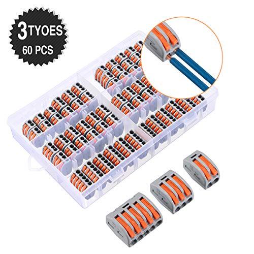 Charminer 60 Stück Hochwertiges Verbindungsklemme Set, 3 verschiedene Modell Draht Klemmen mit Hebel, 2/3/5-Leiter Klemme, 20 Stück Klemmen 2 Polig, 30 Stück Klemmen 3 Polig, 10 Stück Klemmen 5 Polig
