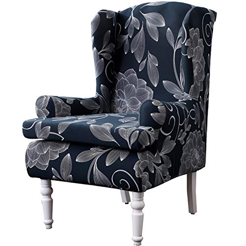 XDKS Fundas para sillón, fundas para sillón, elásticas, 2 piezas de tela elástica de poliéster y elastano impresa para ala de silla (rima antigua)