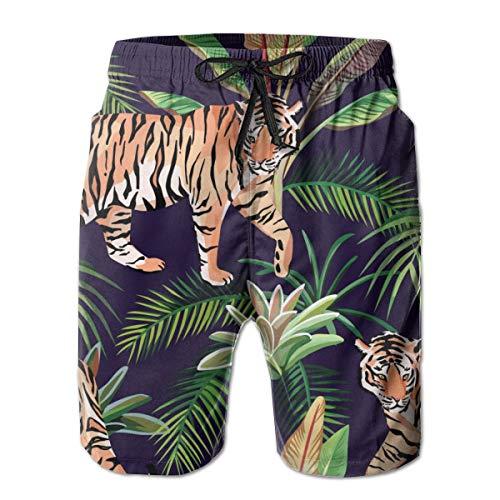 Tiger Jungle Pattern Bañador para Hombre Surf Tabla de Secado Rápido Shorts de Playa Cordón Cintura Elástica con Bolsillos XL 🔥