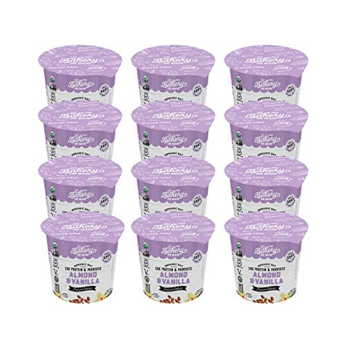 Bakery On Main, USDA Organic, Gluten-Free, Vegan & Non GMO, Probiotic, 10g Protein Added, Oatmeal Cup - Almond & Vanilla, 1.9oz (Pack of 12)