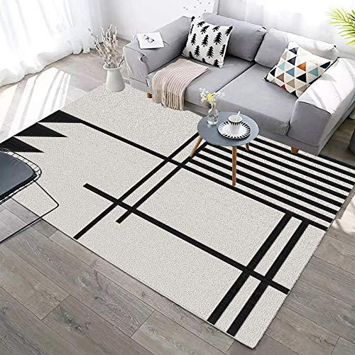 Alfombra Pelo Corto Moderna Interior al Aire Libre Lavable Antideslizante Geometría de triángulo de línea Negra 160x280CM(5'3''x9'2'')