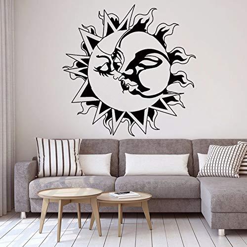 YuanMinglu Romantische Liebe Dekorative Aufkleber Sonne Kuss Mond Dekoration Wohnzimmer Wandtattoo Abnehmbare Vinyl Schlafzimmer Wandaufkleber Schwarz 42x42 cm