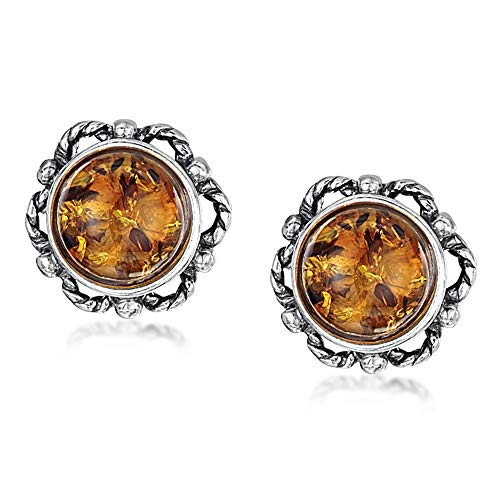 Amberta - Pendientes redondos de tuerca de plata de ley 925 con ámbar báltico miel