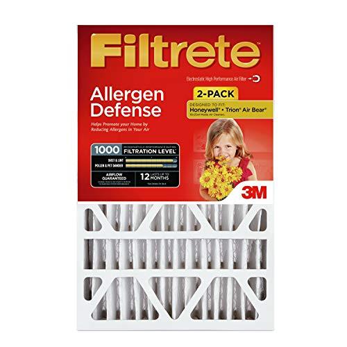 Filtrete ADP03-2PK-2 08189005996 MPR 1000 20 x 25 x 4 (4-3/8 Actual Depth) Micro Allergen Defense Deep Pleat HVAC Air Filter, Uncompromised Airflow, 2-Pack, 2