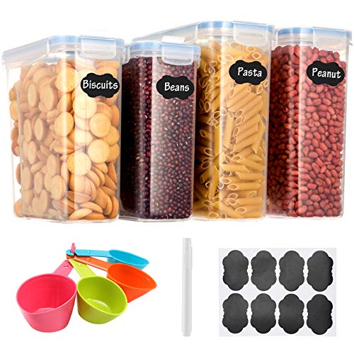 Aitsite 2.5L/4L Vorratsdosen Set, Müslidosen Aufbewahrungsbox Frischhaltedosen, Küche Luftdicht Behälter BPA frei Kunststoff Vorratsdosen, Set mit 4 + 8 Etiketten für Getreide, Mehl, Zucker (Blau)