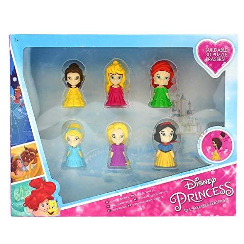 Sambro- Pack 6 Gomas Puzzle 3D Princesas Disney 26X21Cm, Mul