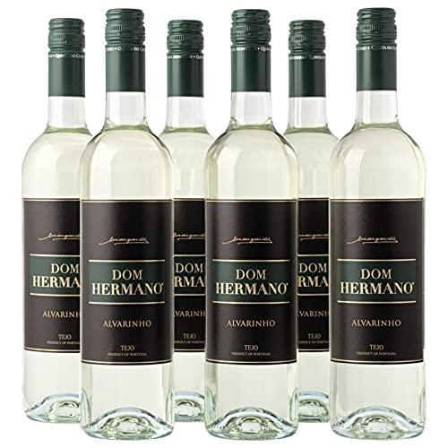 Dom Hermano - Alvarinho - Weißwein trocken - Sommer Wein - Wein passt zu Schnitzel und Risotto - 6 Flaschen (6 x 0,75l) - Wein Geschenk für Frauen- Portugiesischer Wein - IGP Tejo
