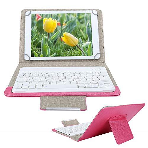 Teclado Bluetooth de 10 Pulgadas + Funda de Cuero PU, Funda para teléfono con Tableta y Soporte para iOS/Android Teclado extraíble Universal USB Recargable(Rosado)