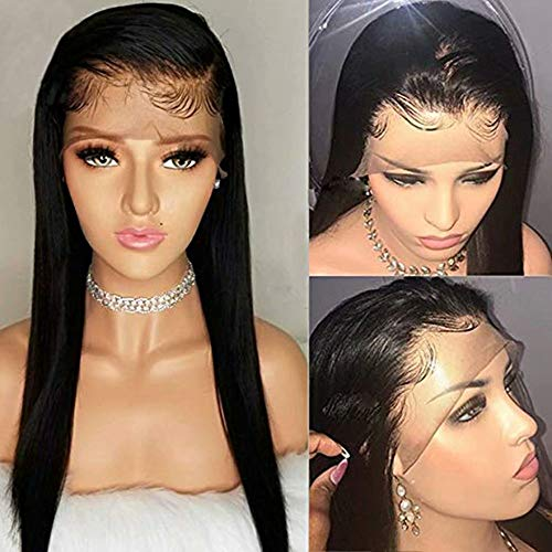 Brazilian Remy Human Hair Straight Lace Front Wigs 150% Density Brazilian Remy Human Hair Adjustable Wigs with Baby Hair for Black Women (10inch, Straight)