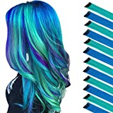 FESHFEN Colored Hair Extension, 12 PCS Teal, Blue Hairpiece for Girls Princess Party Highlight Colorful Straight Hair Extensions Clip in Costumes Hair Piece for Girls Dolls, 20 inch