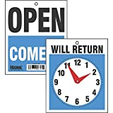 Headline Sign 9382 Double-Sided Open/Will Return Sign with Clock Hands, 7.5 Inches by 9 Inches