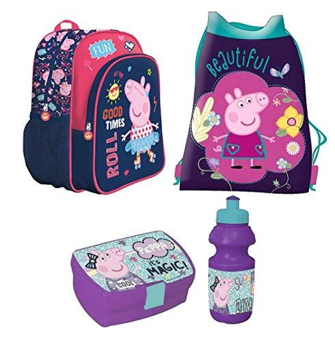 Peppa Pig 4 Teile Set Rucksack Tasche Kindergarten mit Sticker von Kids4shop Turnbeutel BROTDOSE TRINKFLASCHE