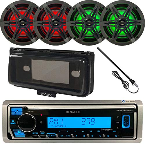 """Kenwood USB/AUX Bluetooth Marine Boat Yacht Stereo Receiver Bundle with 4 x Enrock 6.5"""" 2-Way Charcoal Speakers w/Multicolor LED Lighting + Enrock Waterproof Stereo Cover + Radio Antenna"""