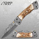 Timber Wolf Damascus and Stag Horn Pocket Knife - Damascus Steel Blade, Stag Horn Handle, File Worked Brass Liners - Closed 4 1/2'