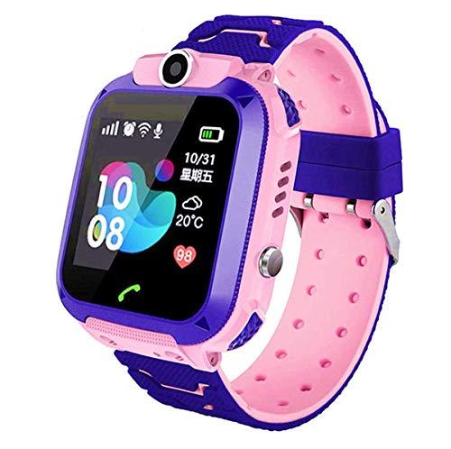 linyingdian Smartwatch Niños, Reloj Inteligente Niña IP67, LBS, Hacer Llamada, Chat de Voz, SOS, Modo de Clase, Cmara, Juegos, Regalo para Niños de 3-12 años, soporta 2G tarjetáas Micro SIM (Rosado)