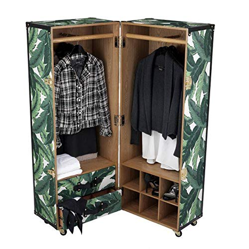 Review Of Botanical Clothes Cabinet | Eichholtz Ripley | Gold Hardware Mustique Green Black Feather ...