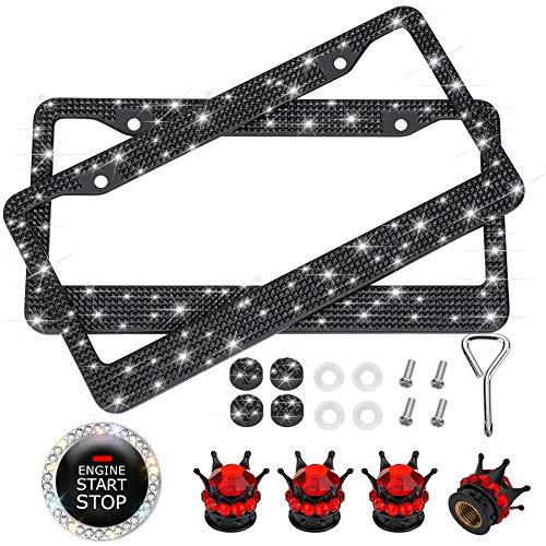 Otostar 7 Pack Bling Car Accessories Set for Women, 2 Pack Bling Crystal Rhinestones License Plate Frames, Bling Car Ring Emblem Sticker, Bling Crystal Crown Valve Stem Caps (Black)