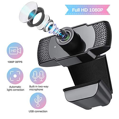 ELTD Webcam Cámara USB HD 1080P para videollamadas, Estudios, conferencias, grabaciones, Juegos para computadora portátil, con Clip Giratorio y micrófono Incorporado con cancelación de Ruido