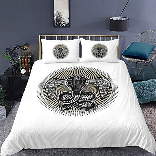 Evvaceo Funda de edredón infantil 3D bohemia con diseño de serpiente, color negro, 135 cm x 200 cm, 3 piezas, forro de cama con impresión 3D, fibra superfina, transpirable, súper suave (individual)