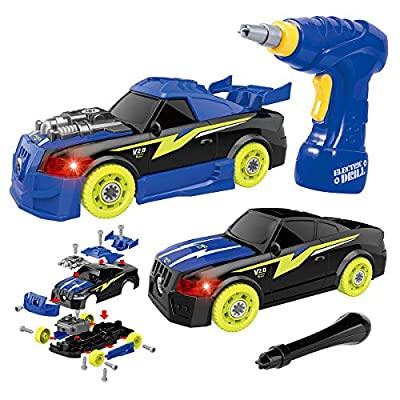 GILOBABY Take Apart Racing Car, STEM Toys 26 Pieces Assembly Car Toys with Drill Tool, Lights and Sounds, for Kids