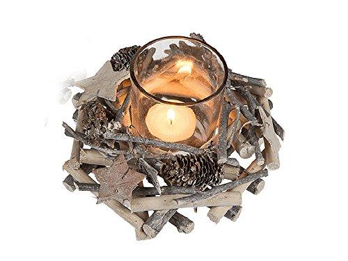 Adventsgesteck Windlicht natur mit Holzkranz klein - als Adventskranz/Weihnachtstischdeko uvm.