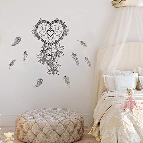 Estilo indio pluma voladora atrapasueños pegatinas de pared decoración del hogar calcomanías de arte ,decoración de vinilo pegatinas de pared A5 57X49cM