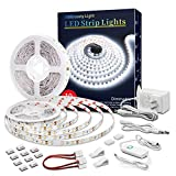 Led Strip Lights 32.8 Feet White Dimmable Led Light Strip Flexible Rope Lights Kits with 12v Etl Power Supply, Adhesive Clips, Dimmer Switch and Connectors for Indoor Decor