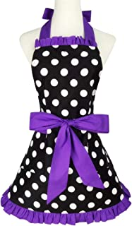Floosum Lovely Cute Purple Retro Ruffle Side Sexy Cute Lady's Kitchen Cooking Apron with Pocket Gift for Women Girls Chef Housewarming