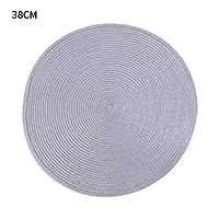 プレースマット ラウンド織プレースマットPP防水ダイニングテーブルマットノンスリップナプキンディスクボウルパッドドリンクカップコースターキッチンデコレーション1個 (Color : 38cm grey, Shape Style : Round)