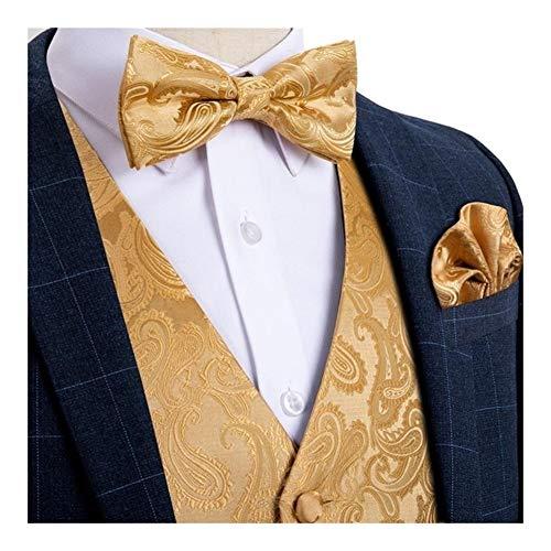 YZRDY Chaleco de Seda Boda de los Hombres del Chaleco for los Hombres Pajarita del pañuelo de la mancuerna del pañuelo fijado for el Smoking del Juego Slim fit (Color : MJ 112, Size : 3XL.)
