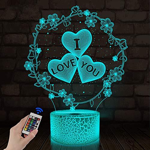 CooPark 3d lampa älskar Illusion Night Light optisk lampa 16 färger med fjärrkontrollbyte,LED-sänglampa nattlampa Barnrumsinredning Bäst Alla hjärtans dag födelsedagspresent för flickor