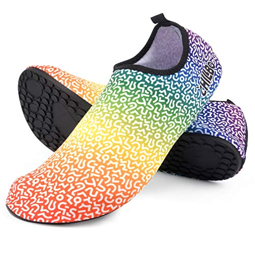 Chillbo Water Shoes - Yoga Shoes for Women Water Shoes for Men Sock Shoes Women 7 Vibrant Styles Swimming Shoes for Men & Water Shoes for Women for Beach Swim Yoga Exercise Rainbow