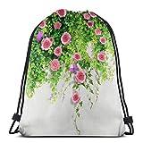 EU Rosas rosas con mariposas en la pared viviente, mochila con cordón para gimnasio, bolsa de cuerda, rosa rosa con mariposas en la pared