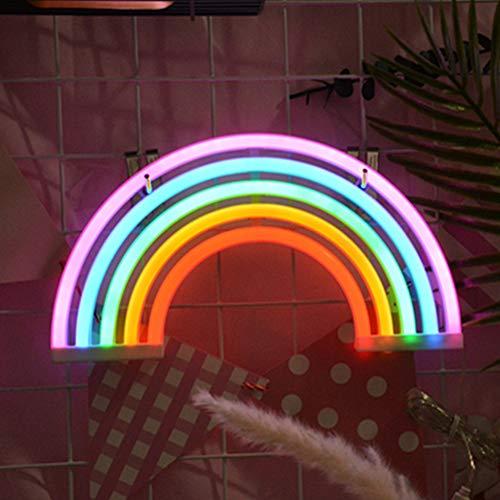 SADA72 Rainbow Neon Signs Lights Lámpara Arco Iris Pared Luz Marquee Batería o USB Operado Luces Led para Decoración de Pared Dormitorio (Batería + USB)