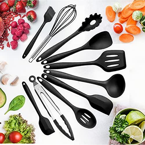 Bauqoo Utensili Cucina Silicone Kit 10 Pezzi Set Utensili Cucina Accessori per La Casa Antiaderenti Set Cucina Professionale Alta qualità Idee Regalo Strumenti di Cottura Resistenti al Calore (Nero)