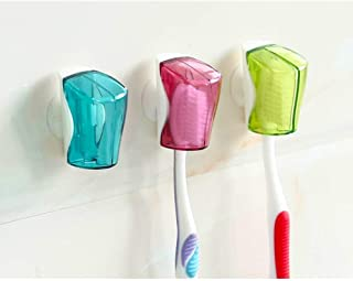 Hokic 6 Pack Travel Toothbrush Holder Case Portable Plastic Toothbrush Head Cover with Suction Cup for Travel Home Camping Business School