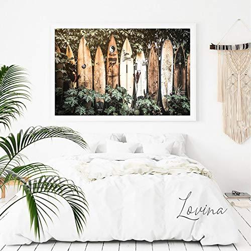 Arte de la pared de verano tropical decoración cuadro tropical surf pared arte Poster Hawaii tabla de surf lienzo pintura decoración del hogar panel arte 30x50cm sin marco