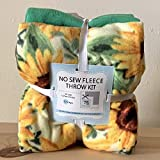 Sunflowers Anti-Pill Premium No-Sew Throw Fleece Fabric Kit (50x60)