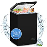 WATOOR 3.5 Cu.ft Chest Freezer Small Deep Freezer Mini Outdoor Chest Freezers Upright with 2 Removable Baskets 7 Temperature Settings Black