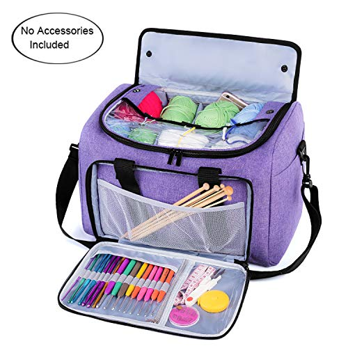 Teamoy Knitting Tote Bag, Yarn Storage Bag with Inner Detachable Divider for Thread Wool Yarn, Unfinished Project, Crochet Hooks, Knitting Needles and Accessories, Perfect for Travel, Purple